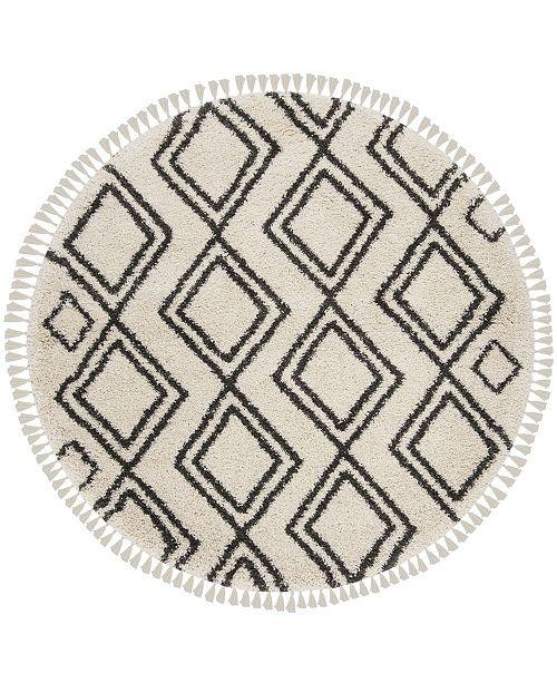 "Safavieh Moroccan Fringe Shag Cream and Charcoal 6'7"" X 6'7"" Round Area Rug"