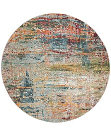 "Safavieh Monaco Teal and Orange 6'7"" x 6'7"" Round Area Rug"