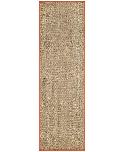 """Safavieh Natural Fiber Natural and Rust 2'6"""" x 8' Sisal Weave Runner Area Rug"""