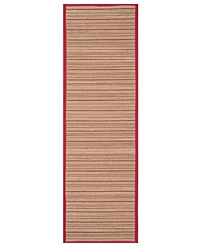 "Natural Fiber Brown and Red 2'6"" x 8' Sisal Weave Runner Rug"