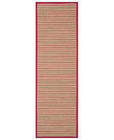 "Safavieh Natural Fiber Brown and Red 2'6"" x 8' Sisal Weave Area Rug"