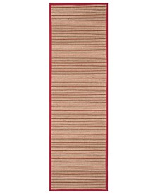 "Safavieh Natural Fiber Brown and Red 2'6"" x 8' Sisal Weave Runner Area Rug"