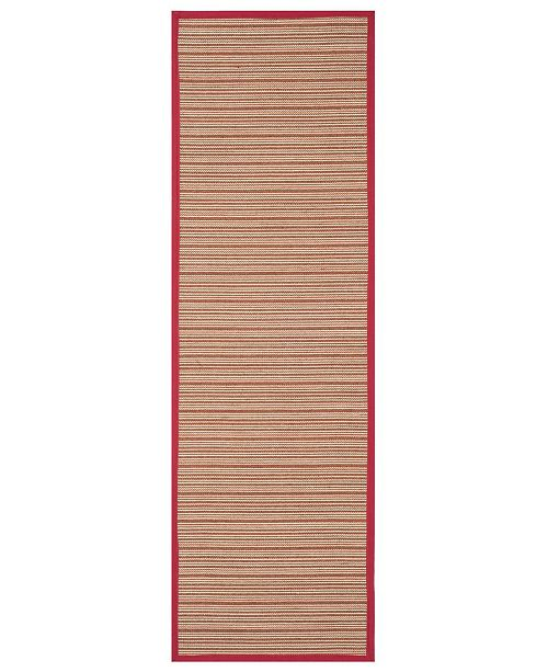 "Safavieh Natural Fiber Brown and Red 2'6"" x 8' Sisal Weave Runner Area Rug"