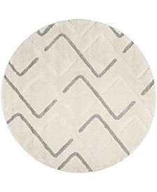 "Olympia Cream and Gray 6'7"" x 6'7"" Round Area Rug"