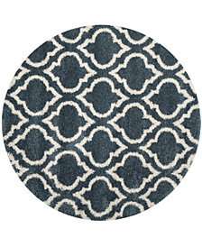 Safavieh Hudson Slate Blue and Ivory 7' x 7' Round Area Rug