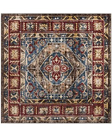 "Bijar Brown and Royal 6'7"" x 6'7"" Square Area Rug"