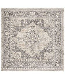 """Brentwood Cream and Gray 6'7"""" x 6'7"""" Square Area Rug"""