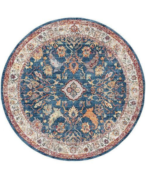 Safavieh Bristol Blue and Light Gray 7' x 7' Round Area Rug