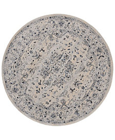 "Safavieh Charleston Ivory and Light Blue 6'7"" x 6'7"" Round Area Rug"