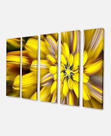 "Designart Massive Yellow Fractal Flower Floral Canvas Art - 60"" X 28"" - 5 Panels"