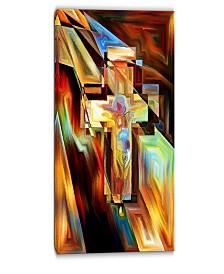 "Designart Light Of The Cross Abstract Canvas Artwork - 16"" X 32"""