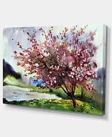 """Designart Tree With Spring Flowers Floral Art Canvas Print - 32"""" X 16"""""""