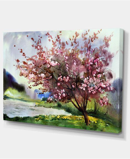 "Design Art Designart Tree With Spring Flowers Floral Art Canvas Print - 32"" X 16"""