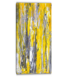 """Designart Grey And Yellow Abstract Pattern Abstract Canvas Print - 16"""" X 32"""""""