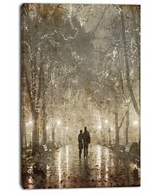 "Designart Couple Walking In Night Lights Photography Canvas Print - 30"" X 40"""