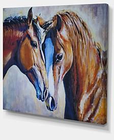 "Designart Brown Amorous Horses Animal Art Canvas Print - 40"" X 30"""