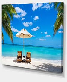 "Designart Turquoise Beach With Chairs Seashore Photo Canvas Print - 40"" X 30"""