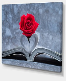 "Designart Red Rose Inside The Book Floral Art Canvas Print - 40"" X 30"""