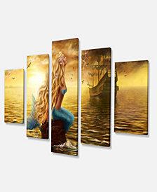 "Designart Sea Mermaid With Ghost Ship Seascape Canvas Art Print - 60"" X 32"" - 5 Panels"