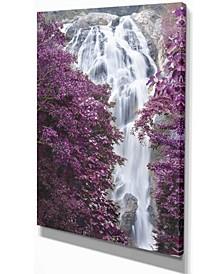 "Designart Klonglan Waterfall Floral Abstract Canvas Artwork - 12"" X 20"""