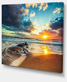 "Designart Beautiful Cloudscape Over The Sea Modern Beach Canvas Art Print - 20"" X 12"""