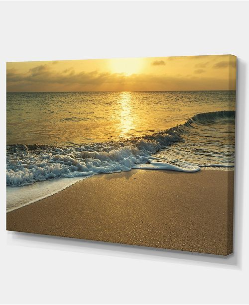 "Design Art Designart White Waves Under Yellow Sunset Modern Beach Canvas Art Print - 32"" X 16"""