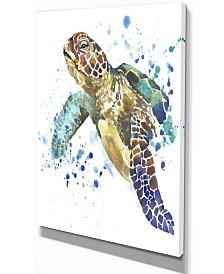 """Designart Blue Sea Turtle Illustration Animal Canvas Art Print - 12"""" X 20"""""""