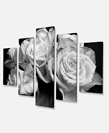 "Designart Bunch Of Roses Black And White Art Canvas Print - 60"" X 32"" - 5 Panels"