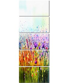 """Designart Cosmos Of Colorful Flowers Large Flower Canvas Wall Art - 28"""" x 60"""" - 5 Panels"""