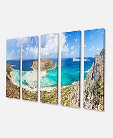 "Designart Balos Beach At Crete Island Greece Oversized Beach Canvas Art - 60"" X 28"" - 5 Panels"