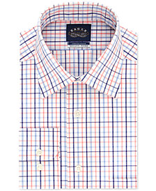 Eagle Men's Classic/Regular-Fit Non-Iron Orange/Blue Check Dress Shirt