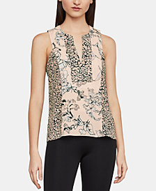BCBGMAXAZRIA Vicky Printed-Blocked Tank Top