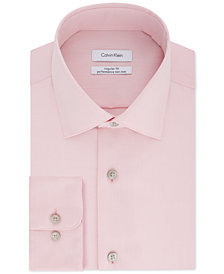 Calvin Klein STEEL Men's Big & Tall Classic-Fit Non-Iron Herringbone Dress Shirt