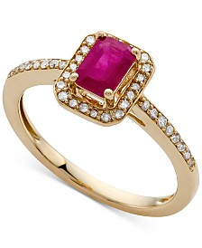Certified Ruby (5/8 ct. t.w.) & Diamond (1/5 ct. t.w.) Ring in 14k Gold (Also Available in Sapphire & Emerald)