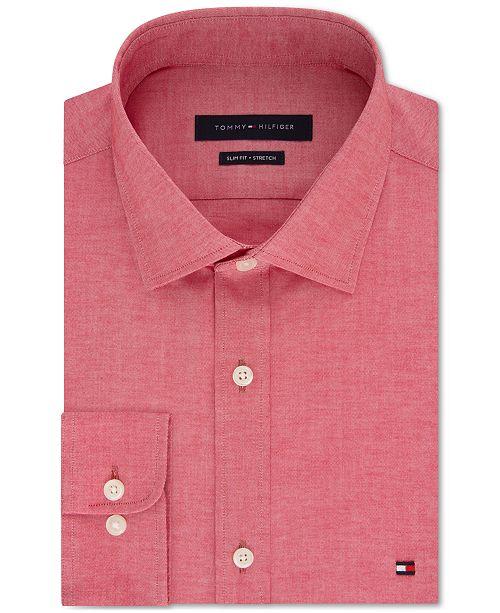 7f4c3f07 Tommy Hilfiger Men's Slim-Fit Stretch Solid Dress Shirt & Reviews ...