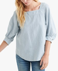 Lucky Brand Puff-Sleeve Peasant Top