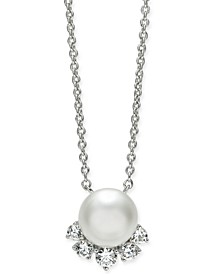"Silver-Tone Crystal & Imitation Pearl Pendant Necklace, 16"" + 1"" extender, Created for Macy's"