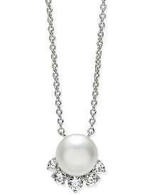 "Eliot Danori Silver-Tone Crystal & Imitation Pearl Pendant Necklace, 16"" + 1"" extender, Created for Macy's"