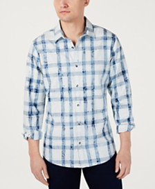 I.N.C. Men's Bleached Plaid Shirt, Created for Macy's