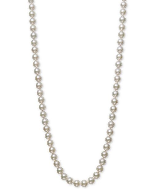 """Belle de Mer Bell de Mer Cultured Akoya Pearl (7-7-1/2mm) 20"""" Pearl Necklace in 14k Gold, Created for Macy's"""
