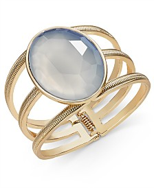 Thalia Sodi Gold-Tone White Stone Three-Row Hinge Bracelet, Created for Macy's