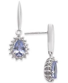 Tanzanite (3/4 ct. t.w.) & Diamond (1/5 ct. t.w.) Drop Earrings in 14k White Gold