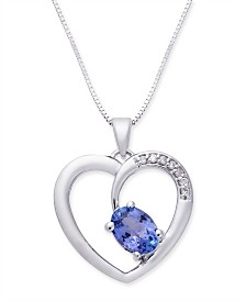 "Tanzanite (1 ct. t.w.) & Diamond Accent 18"" Pendant Heart Necklace in 14k White Gold"