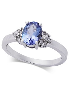 Tanzanite (1 ct. t.w.) & Diamond (1/8 ct. t.w.) Ring in 14k White Gold