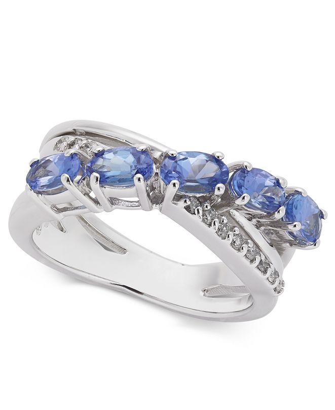 Macy's Tanzanite (1-1/4 ct. t.w.) & Diamond (1/10 ct. t.w.) Ring in 14k White Gold