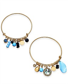I.N.C. Gold-Tone 2-Pc. Set Pavé, Stone & Bead Shaky Bangle Bracelets, Created for Macy's