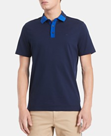 Calvin Klein Men's Regular-Fit Contrast-Collar Polo Shirt