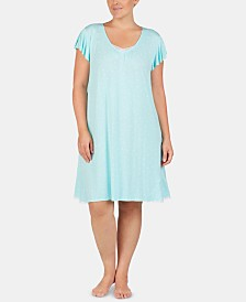 Ellen Tracy Plus-Size Tulle Trim Chemise Nightgown