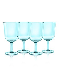 Simple Wine Glass, Aqua, 16 oz., Premium Plastic, Set of 6