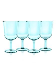 TarHong Simple Aqua Plastic Wine Glasses, Set of 4